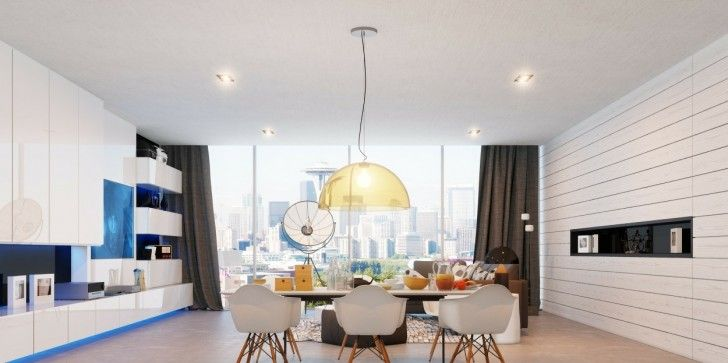 Living Room, Ceiling Lamps Concrete Lamp Standing Lamps Table Lamp Curtain Living Room Diner White Gloss Storage Cabinets Dining Chairs Dining Table Porcelain Floor Sofa Cushions Bottles Glass Pitcher And Bowls ~ Luxury Modern Living Room In Amazing House