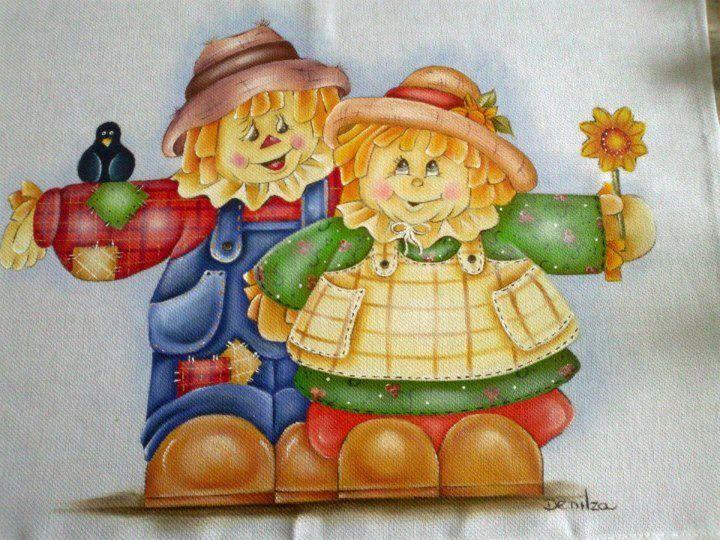 Pintura em tecido bonecos pinterest pintura country - Pinturas para halloween ...