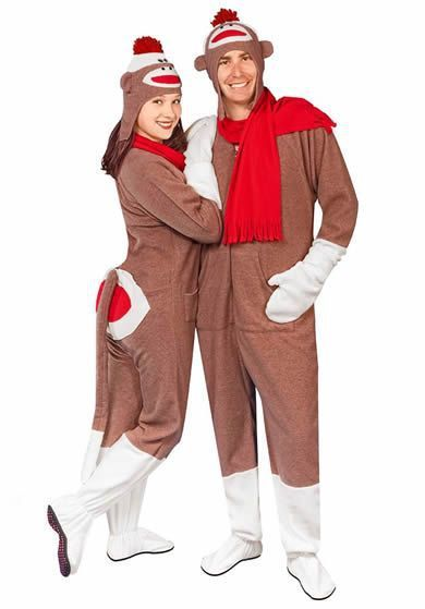 "If you're going to feel ridiculous wearing a onesie, then why not go all out with this sock monkey costume, complete with classy ""butt flap?""   Cost: $44.95"