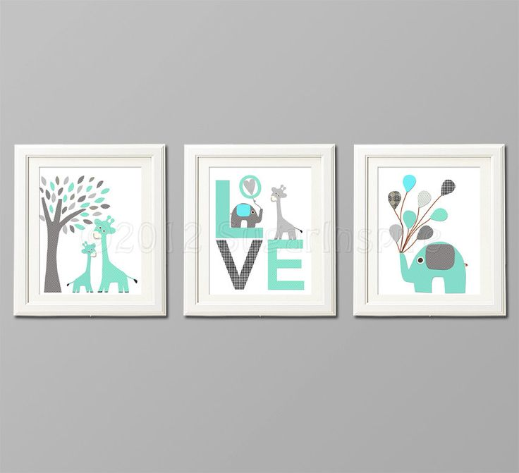 Grey and teal Nursery Art Print Set Kids Room by SugarInspire, $39.95