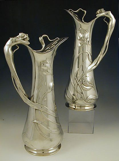 Pair of  Art Nouveau Pewter Flagons with Mermaid Handles