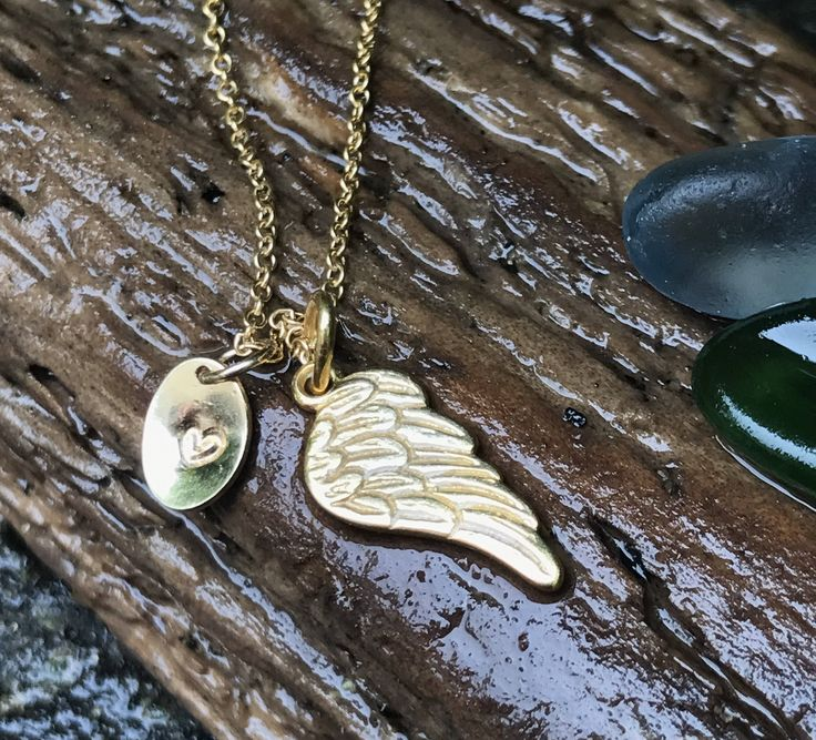 Gold Angel Wing And Heart Pendant Necklace, Gifts For Her, Hand Stamped, Gold Over Sterling Silver Angel Wing by LillyAlexandraSilver on Etsy https://www.etsy.com/uk/listing/532031739/gold-angel-wing-and-heart-pendant