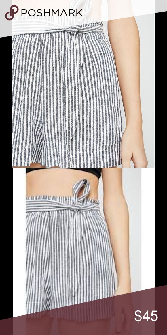 Tie waist short Short with stripe pattern and tie at waist. Back pockets. CC Style Tip: Pair with your favorite tank or body suit for easy warm weather look! By BCBGeneration.  Color: Black/Combo  Fabric: Linen/Viscose Original Retail: $58  Style Number: RLD7D031_S BCBGeneration Shorts