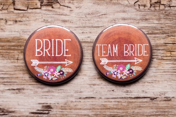 Rustic Wedding Pins, Team Bride Buttons, Woodland Wedding, Bridal Shower Pin, Carved Tree Look, Purple Flowers, Plum Floral, Country Bride