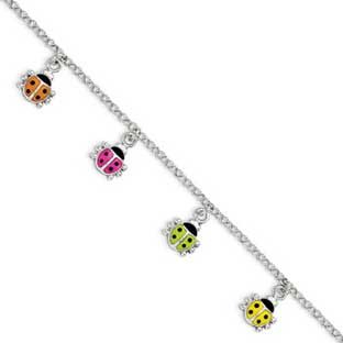 Children's Sterling Silver Colorful Ladybugs Charm Bracelet Available Exclusively at Gemologica.com