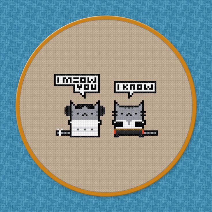 I Meow You - Star Wars - PixelPower - Amazing Cross-Stitch Patterns http://www.pixelpowerdesign.com/shop/movies/product/show/470-i-meow-you-star-wars