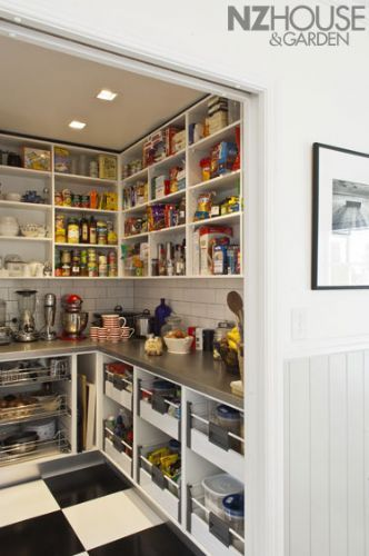 Look at the space for baking sheets and cutting boards. Scullery NZ House & Garden Image Gallery
