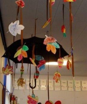 Leuk idee om tijdens de herfst in de klas te hangen. Een paraplu met vallende blaadjes en regendruppels.