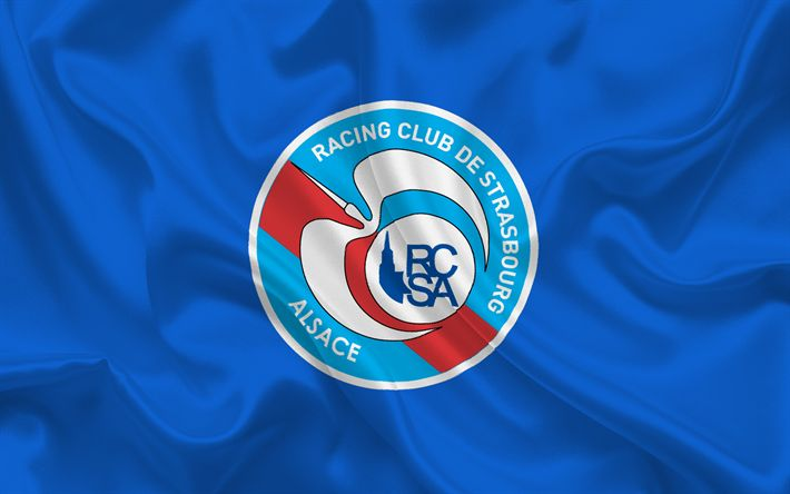 Download wallpapers Strasbourg, Football club, France, Ligue 1, Blue silk, football, emblem, Strasbourg logo