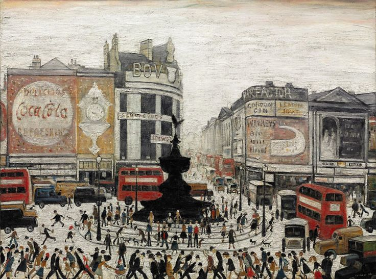 LS Lowry's painting of Piccadilly Circus dates back to the 1960s and shows the fountain in a different spot to where it is now.