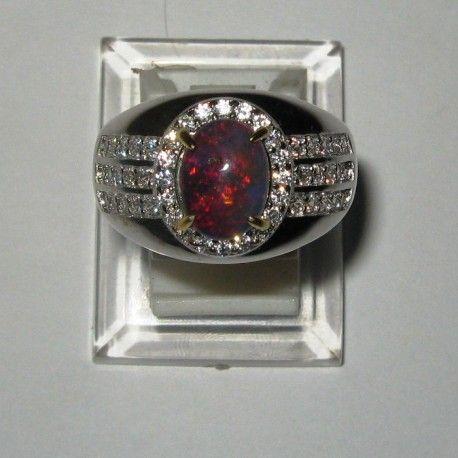 Cincin Silver 925 Black Opal Pria Ring 9.5US