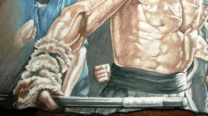 Rambo III Pieyra lavica e ceramica  decorazione a mano