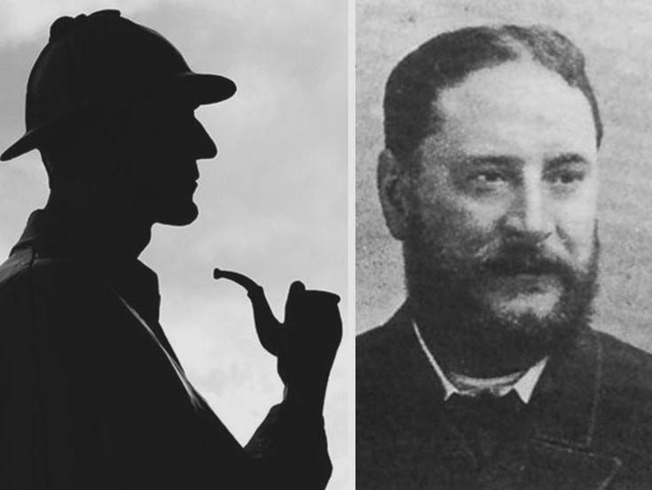 """""""Su estatura sobrepasaba los seis pies y era tan extraordinariamente enjuto que producía la impresión de ser aún más alto. Tenía la mirada aguda y penetrante, [...] y su nariz, fina y aguileña, daba al conjunto de sus facciones un aire de viveza y de resolución"""".    Así describe Arthur Conan Doyle"""
