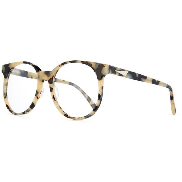 Prism London Round Optical Frames (1,120 ILS) ❤ liked on Polyvore featuring accessories, eyewear, eyeglasses, white pattern, square eyeglasses, square glasses, prism glasses, acetate glasses and prism eyeglasses