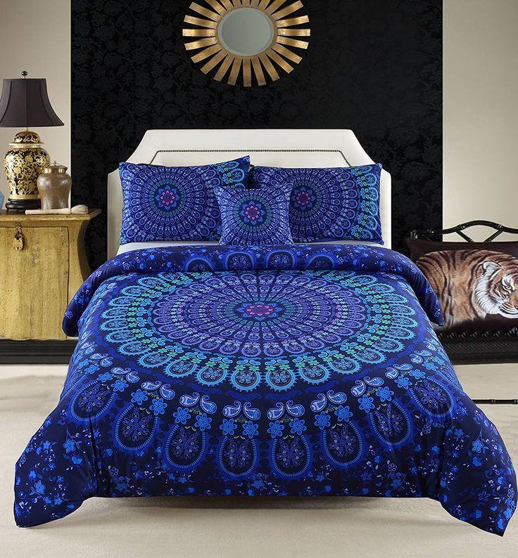 MeiLa 4 Pcs Luxury Soft Microfiber Bedclothes Plain Twill Boho Bohemian Duvet Cover Set Mandala Pattern Bedding Sets King