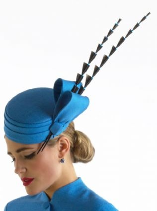 Silk pillbox hat by Sean Barrett