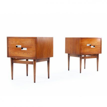 Maker: American of Martinsville | USA  Designer: Merton Gershun | USA  Date: 1960s  Materials: Walnut, Brushed Aluminium Inlays  Dimensions: W 510mm, D 410mm, H 615mm  Description:  These generous bedside cabinets from high end furniture maker American of Martinsville are defined