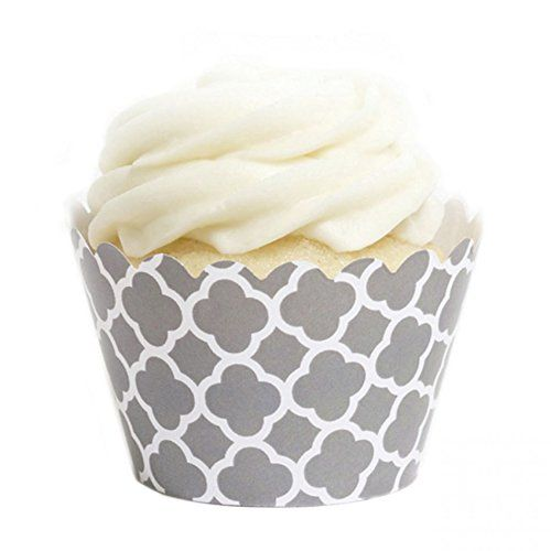 Dress My Cupcake Grey Spanish Tile Cupcake Wrappers, Set of 12:   Dress My Cupcake is the world's largest manufacturer of designer cupcake wrappers. We offer cupcake wrappers in over 500 different colors and styles that are best-sellers, worldwide. Dress My Cupcake's designer wrappers and products have been featured in platinum events hosted by clients such as the Four Seasons Hotel, CBS, the Cleveland Cavaliers, John Deere, Fisher-Price, and the Miami Dolphins.  Our cupcake wrappers p...