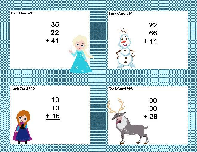 Frozen math worksheets math task cards 2nd grade adding 3 and 4 two