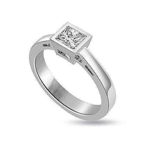 0.60ct H / SI1 Solitaire Diamond Engagement Ring para mujeres con Princess Cut Diamond …   – Accessoires