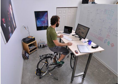 Ride Your Bike While You Work With The Kickstand Desk