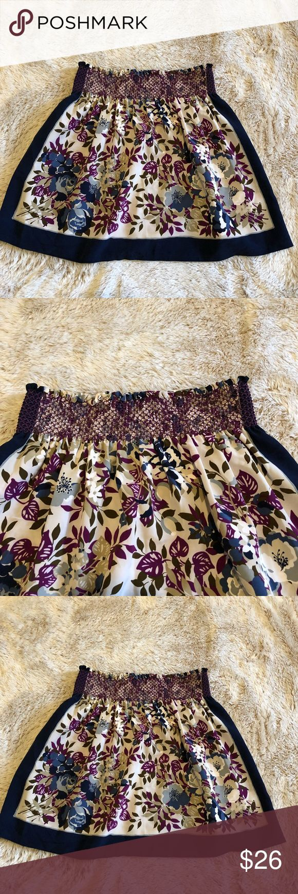 Urban Outfitters Kimchi Blue Floral Mini Skirt, S Adorable floral mini skirt from Urban Outfitters Kimchi Blue. A gathered elastic top and beautiful dark blue color blocks on the side framing in the purple and blue floral pattern. Women's size small. In perfect condition! No stains or rips. Kimchi Blue Skirts Mini