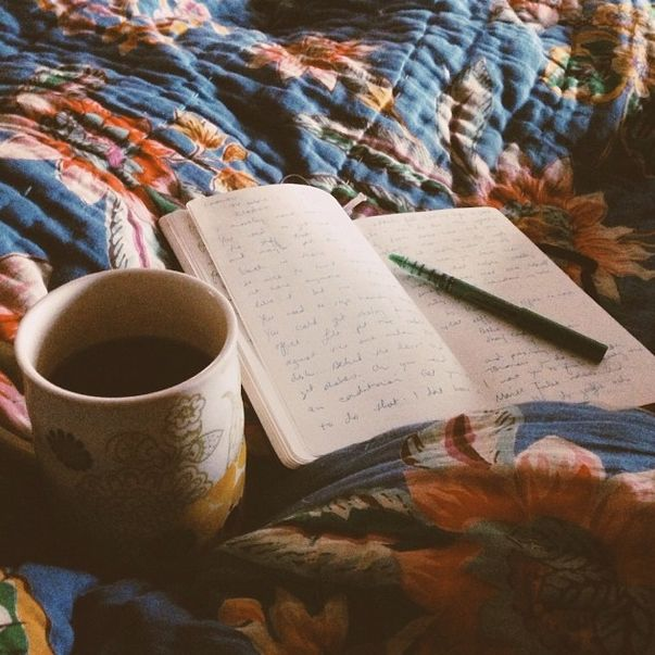 Every morning - coffee + journal :)