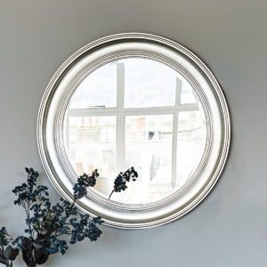 Large Round Silver Wall Mirror