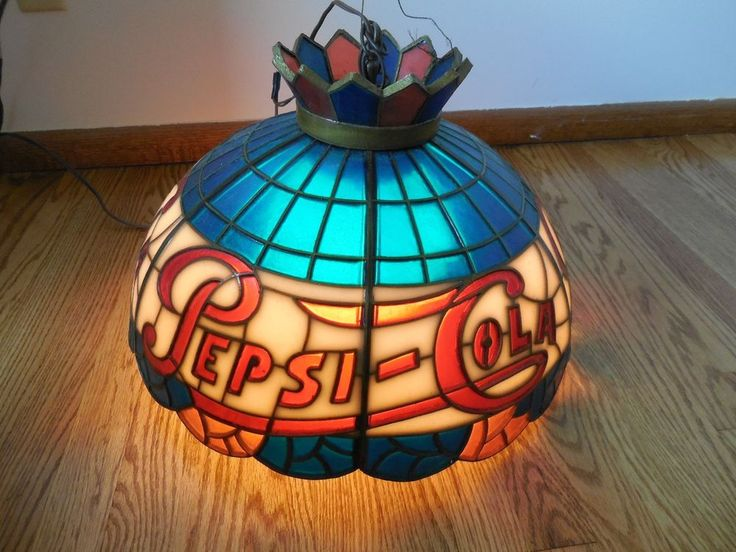 Vintage 1960s Pepsi Soda Tiffany Style Stained Glass