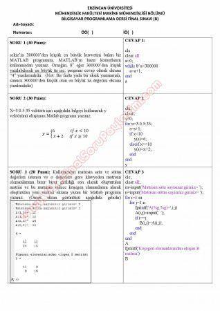 Bilgisayar Programlama (Matlab) Final Soruları ve Cevapları