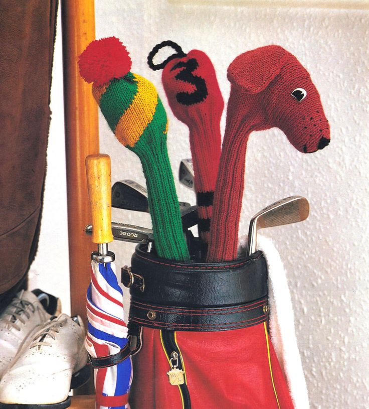 Ideal gift for the golf enthusiast. This knitting pattern has instructions to make three styles of golf club cover and all three use a double knitting yarn. Pattern available on Ebay.