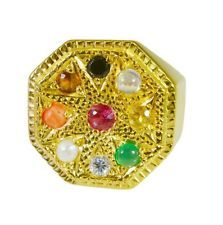 radiant Navratna Gold Plated multi Ring wholesale L-1in US 5678