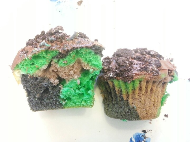 Sucessful camo cupcakes with oreo dirt. Boyfriend said they were yummy too. Made them for his basic training graduation :)