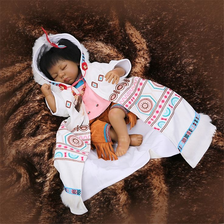 138.70$  Watch here - http://alitg3.worldwells.pw/go.php?t=32722223169 - 50-55 cm Popular Native American Indian Reborn Baby Doll Cute Close Eyes Alive Silicone With Cotton Body Newborn Baby Dolls Toys 138.70$