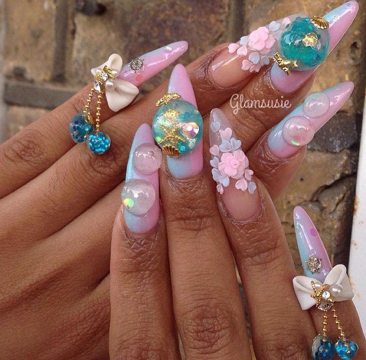 Pink/blue nails