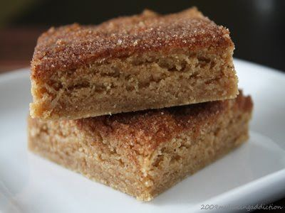 Snickerdoodle Blondies….  These are so good!   They are easy to throw together and recipe can easily be doubled to feed a crowd.   Bonus:   Your house will smell incredible while they bake & cool :)