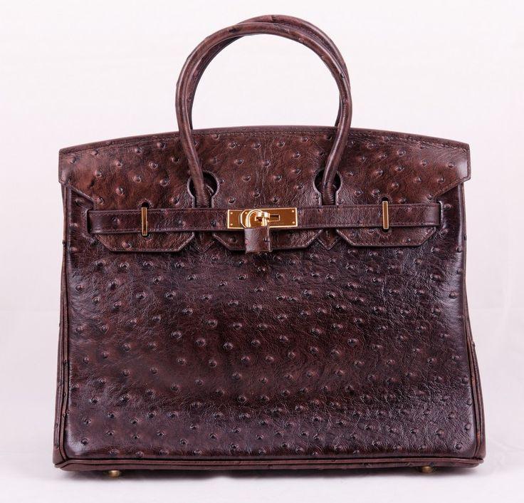 Кожаная сумка Hermes Birkin из натуральной кожи с выделкой под страуса, коричневая. Размер 35х25х18см #19489