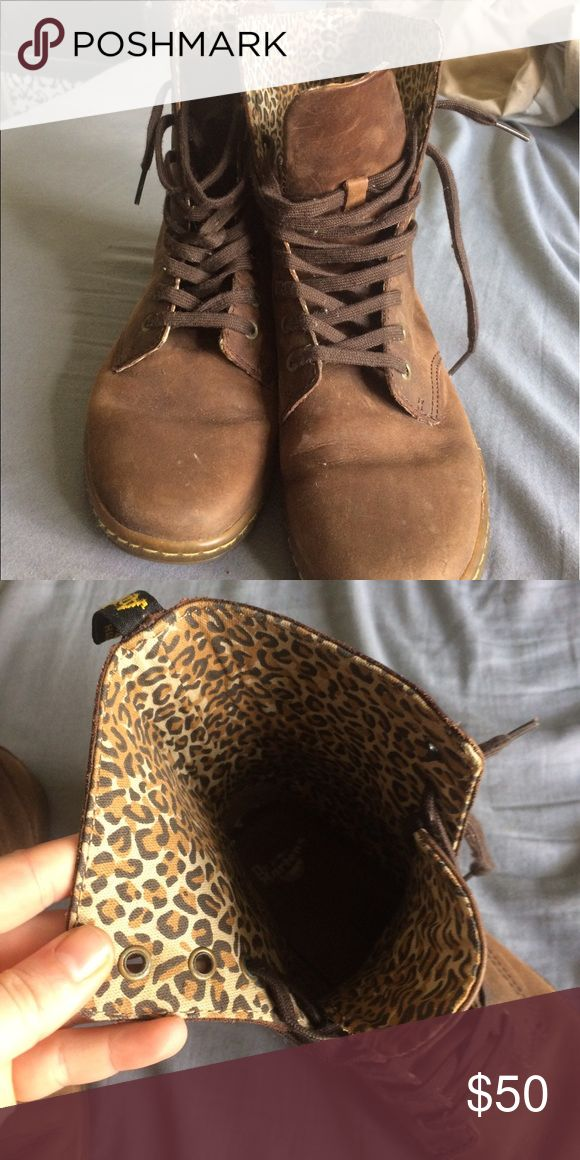 Dr Martens Boots Brown flat boot with cheetah print inside Dr. Martens Shoes Combat & Moto Boots