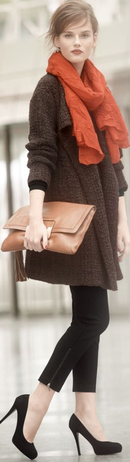 fall winter fashion. Beautiful makeup, orange scarf, loose brown cardigan, soft leather clutch