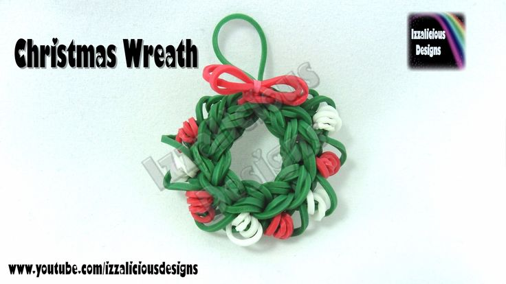 Rainbow Loom Christmas Xmas Wreath Charm - Loom Version