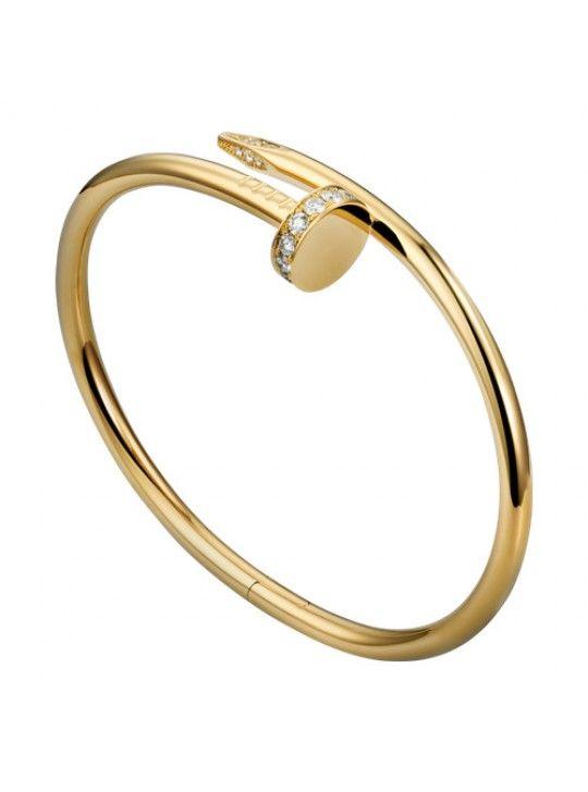 Cartier Juste Un Clou Nail Bracelet Copy Plated Real Yellow Gold Set With Diamonds B6045017