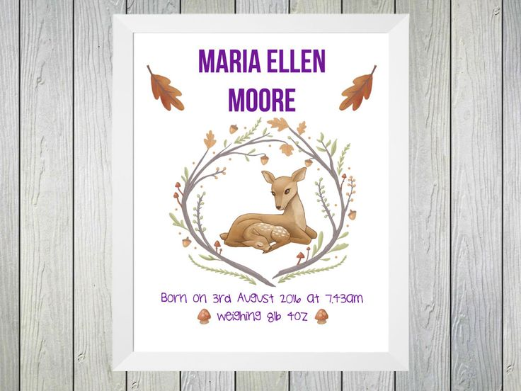 Woodland Deer - Framed Personalised Print to commerate the birth of a baby girl. Personalised with name of baby, date and time of birth and weight at birth