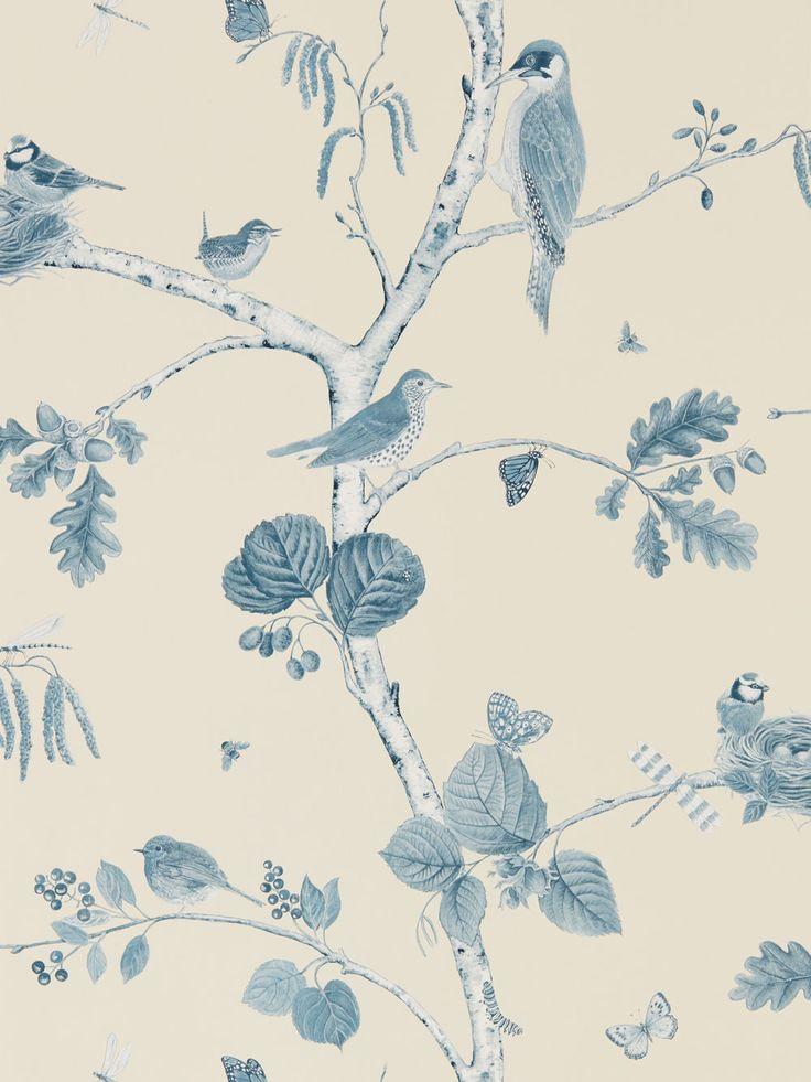 Sanderson Woodland Chorus Indigo Wallpaper main image