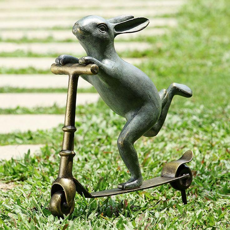 Bunny Scooter Garden Sculpture   Garden   Spi