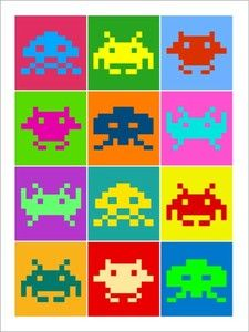 Space Invaders Game Retro Art Print Poster