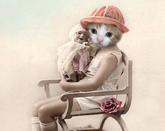 Callie kat Print antropomorfe grillige Art Collage kunst
