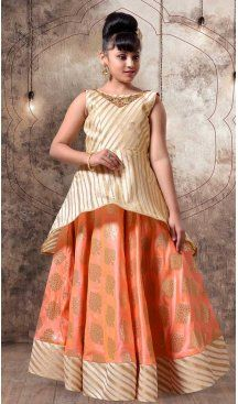 Orange Color with Jecard Silk Fabric,  Exclusive Designer Kids Gowns | FHK13525686