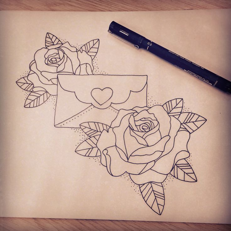 Neo traditional envelope and roses tattoo design