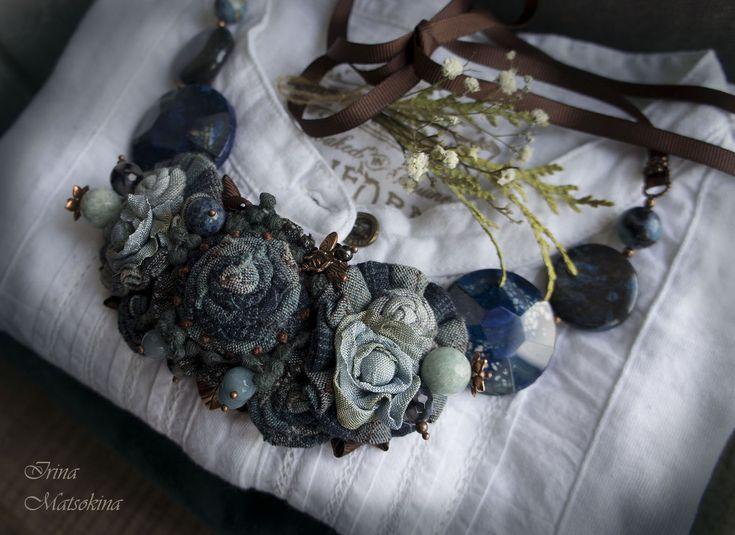 Купить Колье Царство Небесное - тёмно-бирюзовый, синий, голубой, небесный, колье, колье с камнями