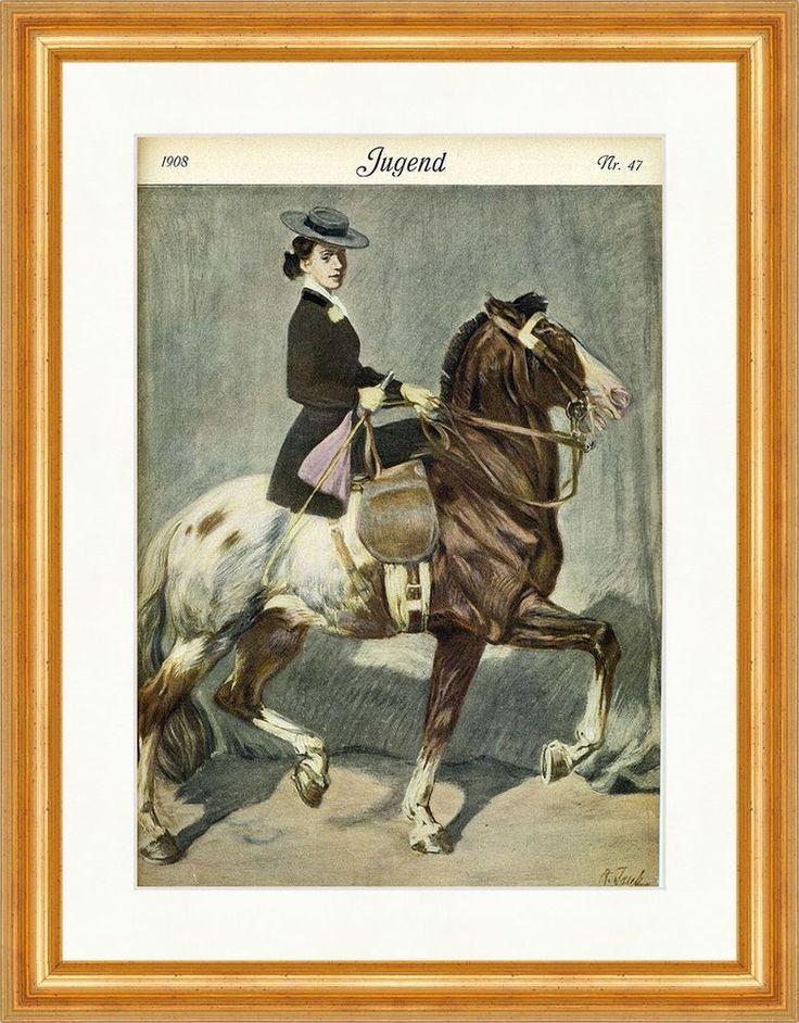 Titelseite der Nummer 47 von 1908 Angelo Jank Reiterin Pferd Sattel Jugend 3670
